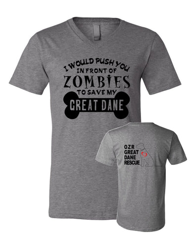 Zombies to Save Great Dane - OZRGD Logo - Adult VNeck Tee