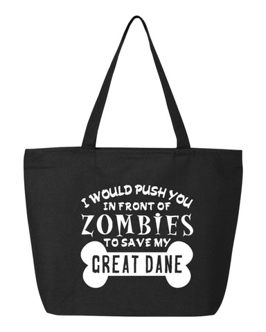 Zombies to Save Great Dane - OZRGD Logo- Zippered Canvas Tote
