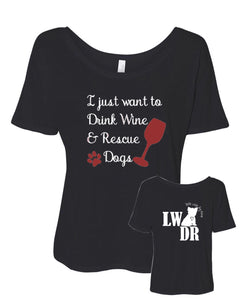 Drink Wine & Rescue Dogs - LWDR Logo - Women's Slouchy Tee