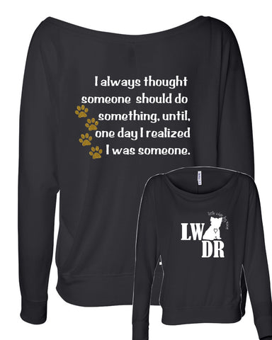 JFK Quote - LWDR Logo - Women's Flowy Long Sleeve Off Shoulder Tee