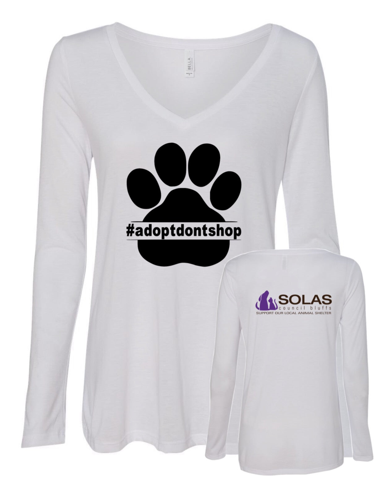 Adopt Don't Shop - SOLAS Logo - Ladies' Flowy Long Sleeve VNeck
