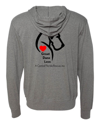 Great Dane Love A Central Florida Rescue - Lightweight Full Zip Hoodie
