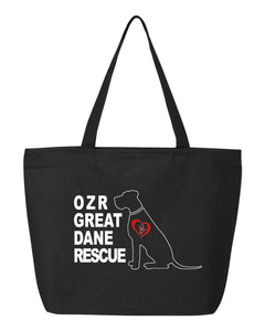 OZR Great Dane Rescue Logo - Zippered Canvas Tote