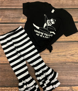 Girl's Ruffle Leggings Wide Black and White Stripe