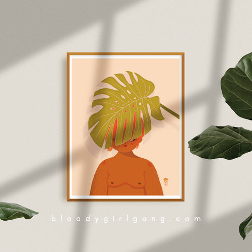 Monstera Over People Art Print