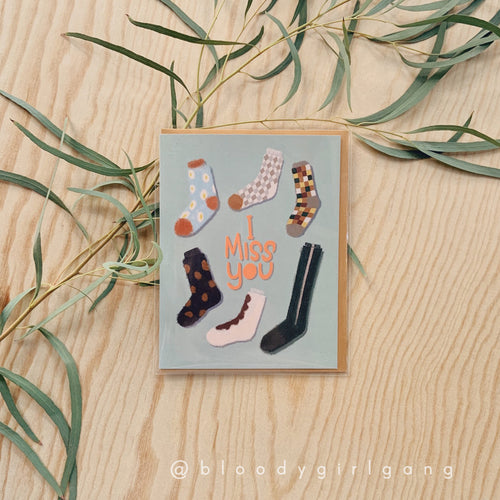 I Miss You Single Socks Greeting Card