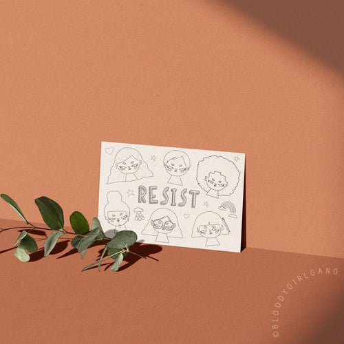 Resist Coloring Postcard