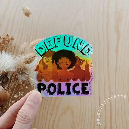 Defund Police Holographic Sticker