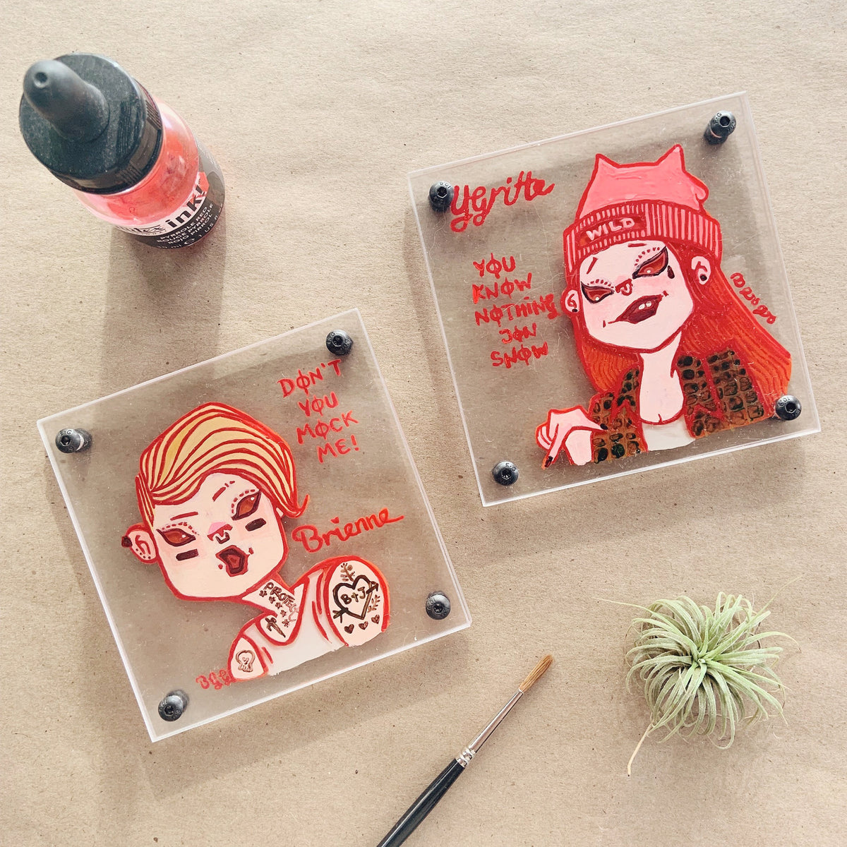 Game of Thrones Girl Power - Ygritte the Wildling - Hand-painted Coaster Fan Art