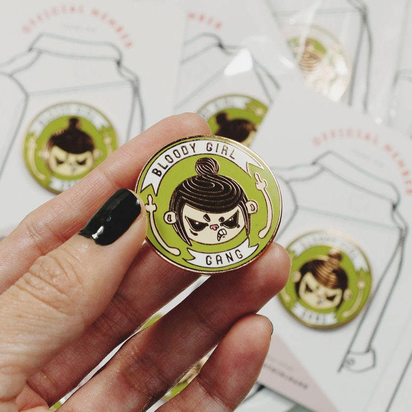 Bloody Girl Gang Official Hard Enamel Pin - Angry Girl