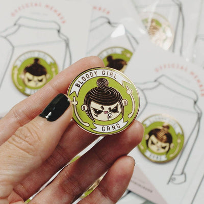 Bloody Girl Gang Official Enamel Pin - Angry Girl