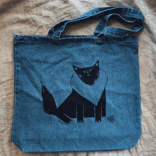 Kitty Black Vinyl Denim Tote