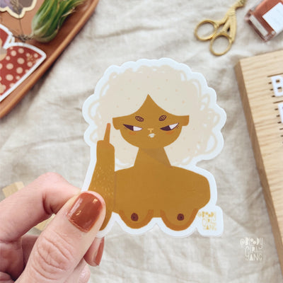 ZFG Brown Cupcake Hair Girl Sticker