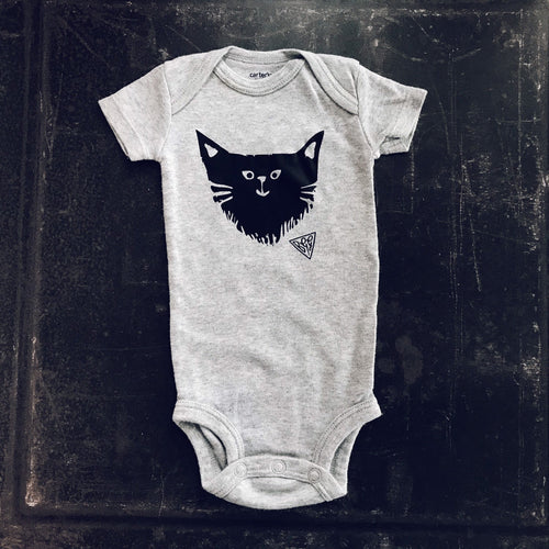 BGG Kitty Feminist in Training//Gender Neutral Baby Onesie in GRAY