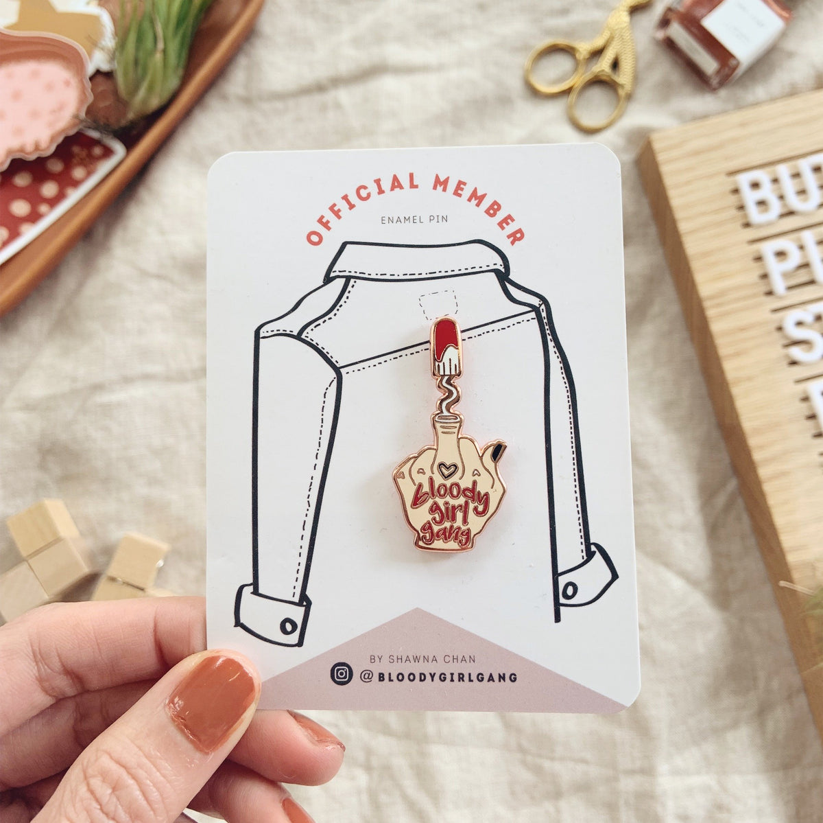 Bloody Girl Gang Official Member Hard Enamel Pin - F Off My Body