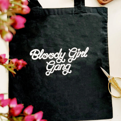 Bloody Girl Gang Cotton Tote Bag - White Lettering on Black