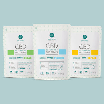 Bundle & Save: CBD Dog Treats - RELAX Stress Relief  + REPAIR Joint Support  + PROTECT Immunity Support