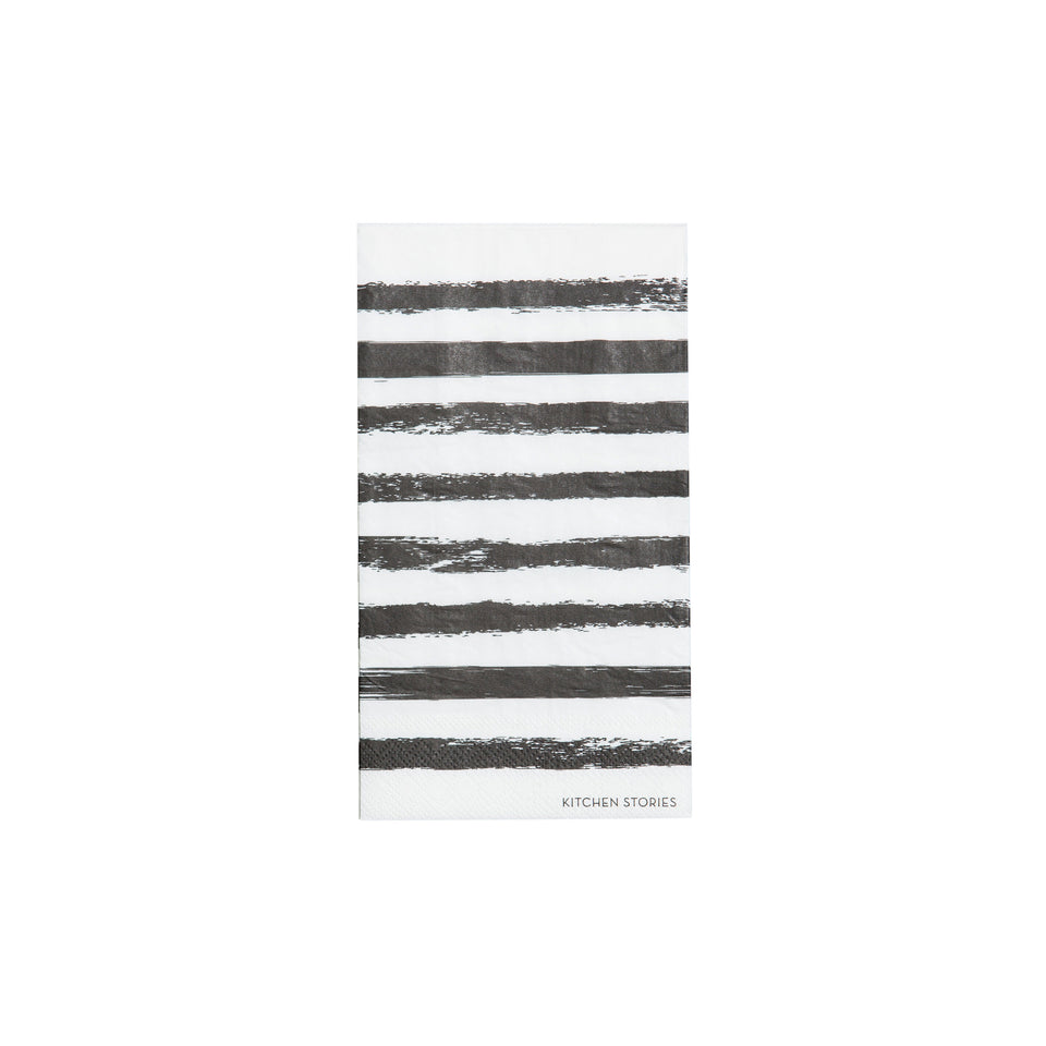 By On Servietten Stripes, Papierserviette, Schwarz/Weiß, B11xH20 cm