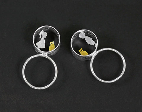 boy and girl meets cat jewelry ring