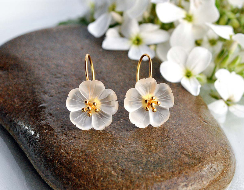 Gold Flower in the Rain Earring - Lotus Fun