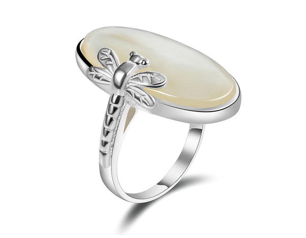 Oval Shell Dragonfly Ring - Lotus Fun