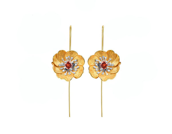 Blooming Anemone Flower Earring