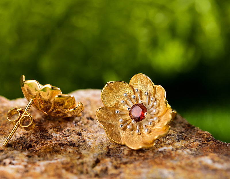 Blooming Anemone Flower Stud Earring