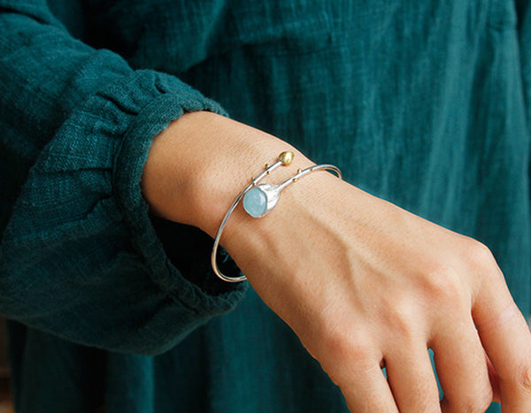 Aquamarine Lotus Bud Bangle