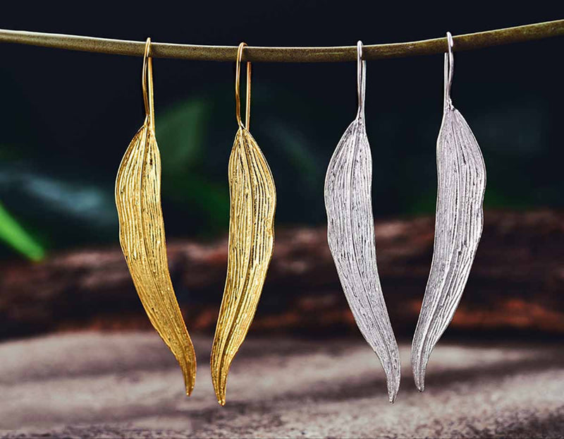 Silver and Gold Autumn Leaf Earring - Lotus Fun