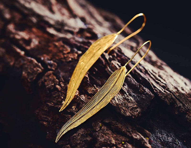 Gold Autumn Leaf Earring - Lotus Fun