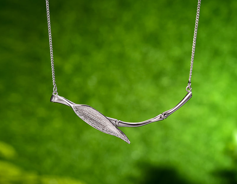 Morning Dew on Bamboo Leaf Necklace