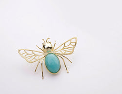 gold plated handcrafted sterling silver with natural turquoise amazonite stone