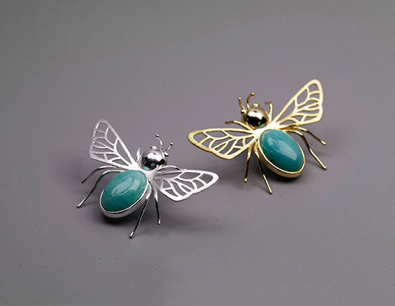 two handcrafted sterling silver with natural turquoise amazonite stone one is gold plated