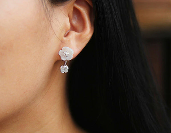 Girl wearing Begonia Earring - Lotus Fun