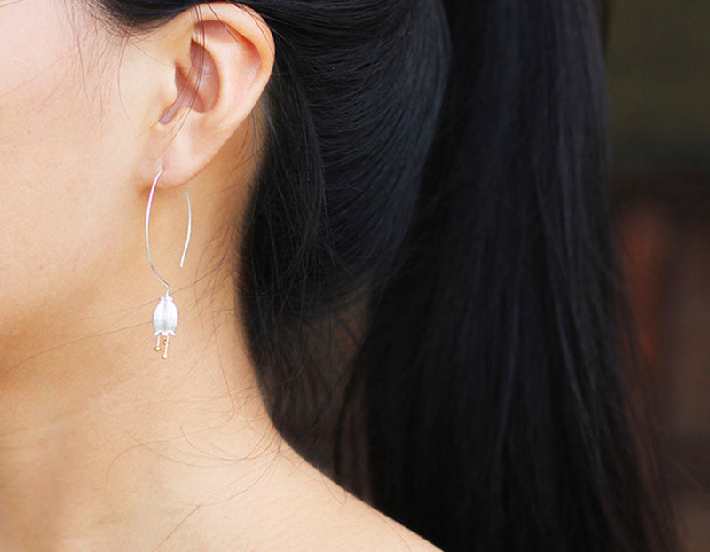 Girl wearing Bellflower Earring - Lotus Fun