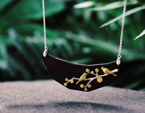 Birds on Branch Wooden Necklace - Lotus Fun