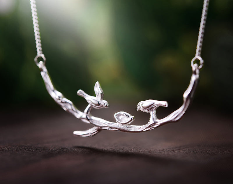 Silver Birds on Branch Necklace II - Lotus Fun