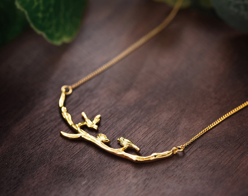 Gold Birds on Branch Necklace II - Lotus Fun
