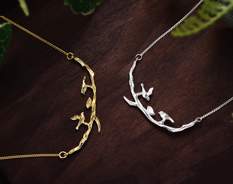Gold and Silver Birds on Branch Necklace II - Lotus Fun