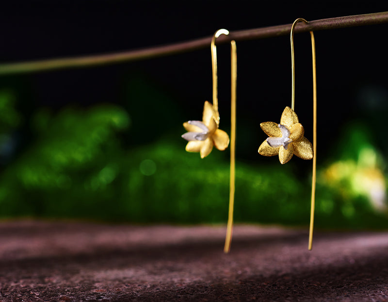 Gold Blooming Orchids Earring - Lotus Fun