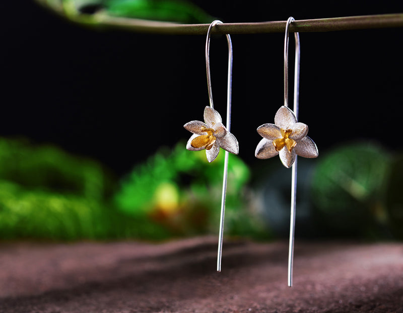 Silver Blooming Orchids Earring - Lotus Fun