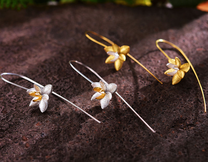 Gold and Silver Blooming Orchids Earring - Lotus Fun