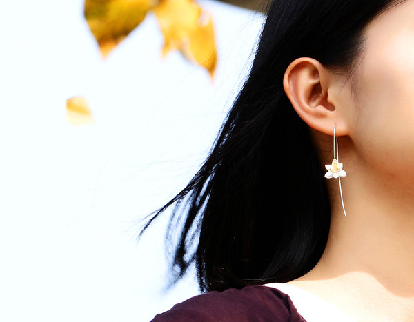 Girl wearing Blooming Orchids Earring - Lotus Fun