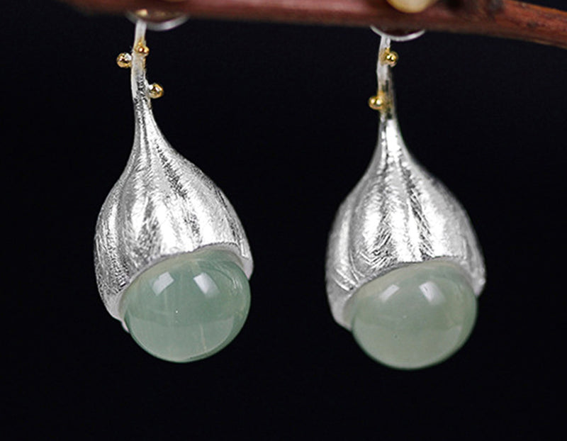Aquamarine Lotus Bud Earring