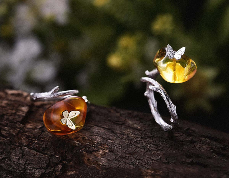 Amber Butterfly Ring - Lotus Fun