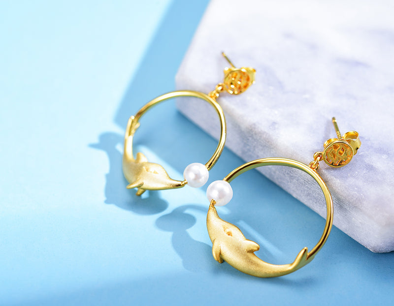 Playful Dolphin Earring