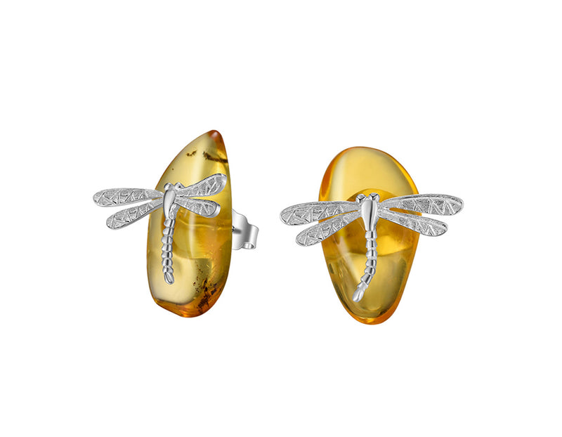 Amber Dragonfly Earring - Lotus Fun