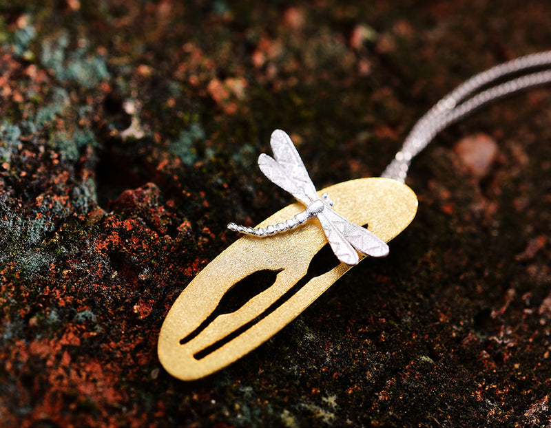 Dragonfly Upon Grass Flower Pendant