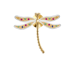 Rainbow Dragonfly Brooch - Sterling Silver - Lotus Fun