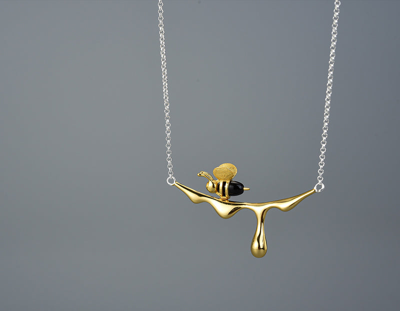 Dripping Honey & Bee Necklace
